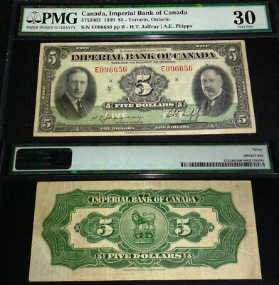 Canada ,imperial Bank Of Canada 1939 $5 -Pmg 30 (Very Fine)