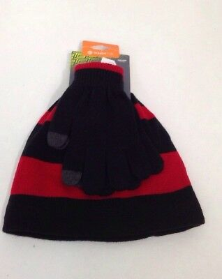 Tek Gear Boys Knit Striped Beanie & Solid Glove Set Black/red One Size Nwt $18