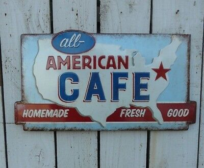Primitive retro style metal embossed all American CAFE sign country home decor