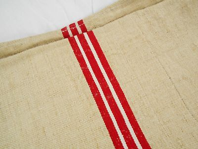 Vtg Antique RED & WHITE STRIPE French HEMP LINEN FEED SACK GRAIN BAG 19x52