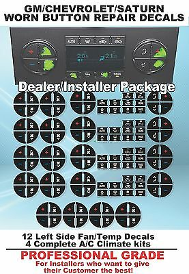 2007-2013 GMC Acadia Worn Buttons Repair Decals AC Climate Control.