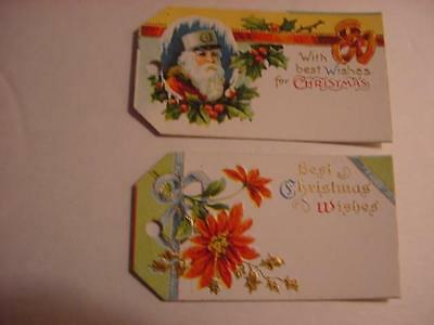 Vintage Antique NOS Lot of 2 Embossed CHRISTMAS Gift Tags: 1 Santa +1 Poinsettia