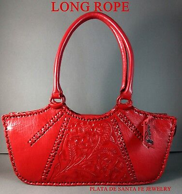 27fc3a0ba Long Rope~Mexican Hand Tooled~Elegant~LIPSTICK RED~Western Leather Handbag