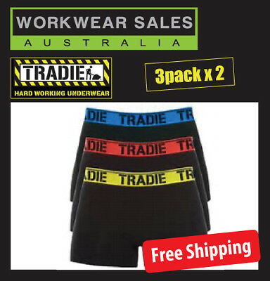 2x TRADIE UNDIES MENS, 3 PACK( 6 IN TOTAL), TRUNK BRIGHTS, FREE AUS SHIPPING