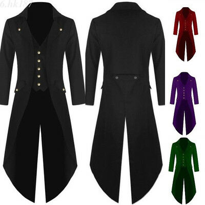 Mens Coat Fashion Steampunk Vintage Tailcoat Jacket Gothic Victorian Frock Coat