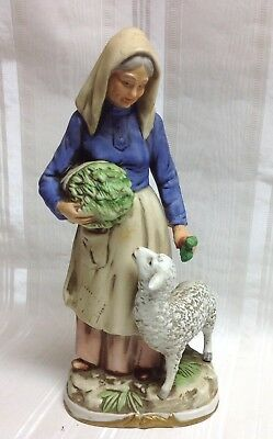 "Vintage HOMCO 11"" Harvest Time-Farm/Peasant Woman w/Sheep, Porcelain Figurine #8"