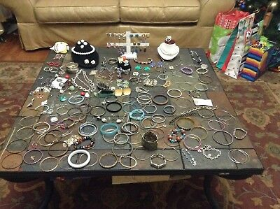 Large Vintage Lot Of Costume Jewelry Bracelets Rings Necklaces Over 500 Pieces