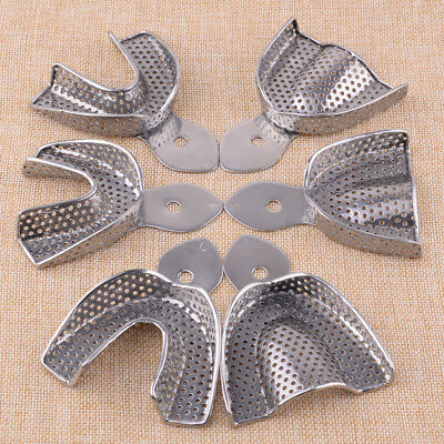 6pc Upper Lower Stainless Steel Dental Autoclavable Metal Impression Trays S M L