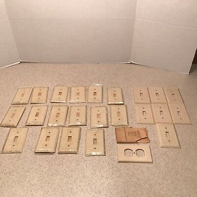 23 Vintage Bakelite Switch Plate Cover ivory Ribbed Art Deco + 1 outlet cover