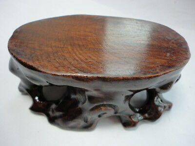 CHINESE BLACK HARDWOOD NICE CARVED BONSAI POT/VASE STAND 95mm S UG