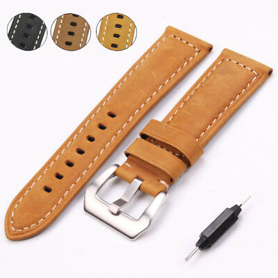 22 24mm Handmade Thick Italian Genuine Leather Vintage Watch Band Strap For PAM