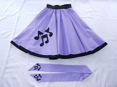 "GIRLS/CHILDS ROCK N ROLL/ROCKABILLY ""Music Notes"" SKIRT-SCARF 10-12 Lilac"