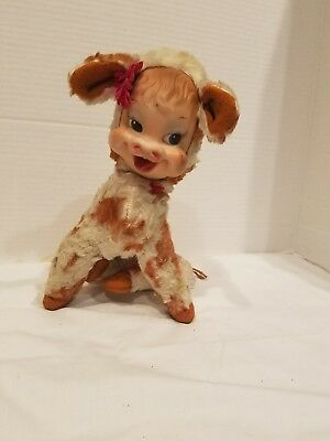 50s Vintage Rushton Rubber Face Plush Cow Calf Star Creation Bell Stuffed Animal
