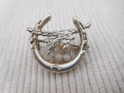 Ancienne Broche Anglaise Argent Massif Vintage Fer A Cheval Epi Ble Perle  B1709