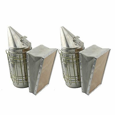 Set of 2 Bee Hive Smoker Stainless Steel w. Heat Shield Beekeeping Equipment sw1