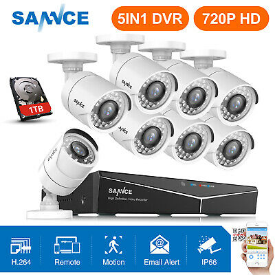 SANNCE 5in1 8CH / 4CH 1080P HDMI DVR 720P Outdoor Security Camera System IR CUT