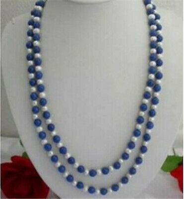 "8mm Egyptian Blue Lapis Lazuli & Real White Pearl Necklace 30"" Strand"