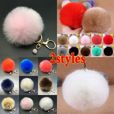 Rabbit Fur Fluffy Pompom Ball Handbag Car Pendant Charm Key Chain Keyrings Charm
