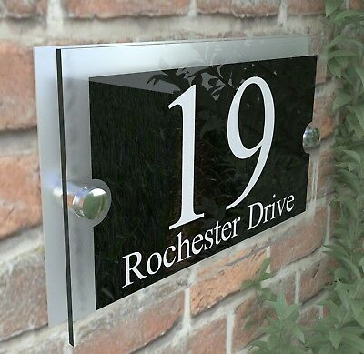 Modern House Sign Plaques Door Number Acrylic Personalised Name Plate PAR2WB