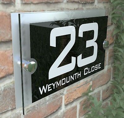 Modern House Sign Plaques Door Number Acrylic Personalised Name Plate PAR10WB