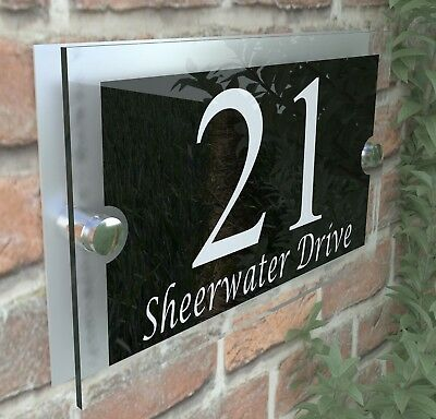 Modern House Sign Plaques Door Number Acrylic Personalised Name Plate PAR13WB