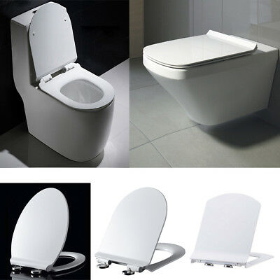Toilet Seat Soft Close Luxury White V D Square Shape Heavy Duty Quick Release BW
