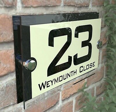 Acrylic Cream & Black House Signs Plaques Door Numbers Name Plate Plaque Par10BC