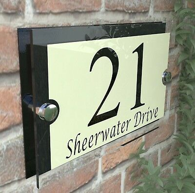 Acrylic Cream & Black House Signs Plaques Door Numbers Name Plate Plaque Par13BC