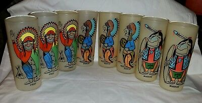 7  Bill T Lores Humorous Glasses  WARRIOR CHIEF & DANCER Tall Frosted