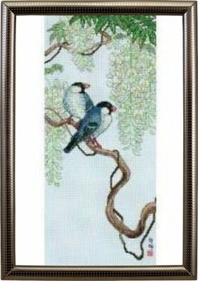 "ANCHOR MAIA""BIRDS ON WISTERIA""CROSS STITCH KIT  Kreuzstich-Stickpackung 30x13 CM"
