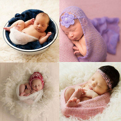 New Mohair Newborn Baby Crochet Knit Wrap Cocoon Swaddle Photography Photo Prop