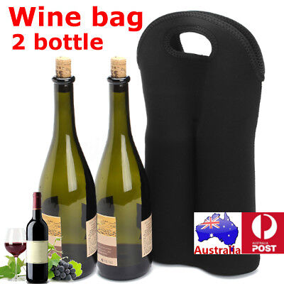 2 Bottle Drink Wine Beer Insulated Neoprene Bag Tote Carrier Cooler Gift Case