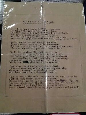 """Unique WWII funny poem entitled """"Hitler's Dream"""" penned by Brit. soldier"""