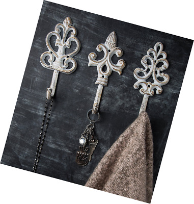 Shabby Chic Cast Iron Decorative Wall Hooks - Rustic - Antique - French Country
