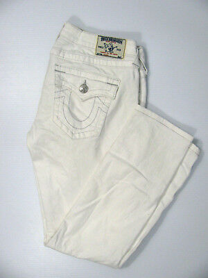 True Religion Women's Basic Skinny Optic White Jeans With Flaps Studded 31 X 29
