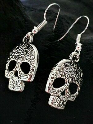 Sugar Skull Day Of The Dead Earrings Large Dangle Silver Tone Hooked Quality UK