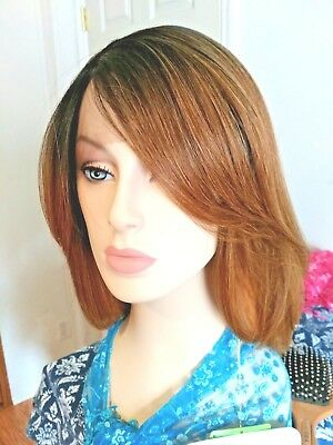 Short Light Auburn Lace Front Wig Brown Roots Blonde Tips 14 In