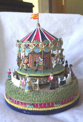 """Liberty Falls """"carousel Comes To Town""""  Music Box Christmas West Snow Village"""