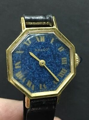 Vintage Ralco Hand Wind Blue Lapis   Dial Gold Plated /  LADY Watch @