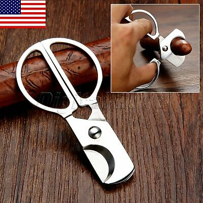 US STOCK Portable Pocket Steel Stainless Round Head Cigar Cutter Knife Scissor