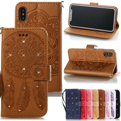 Card Holder Leather Flip Wallet Case Cover Stand Floral For Samsung iPhone Huawe