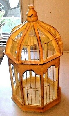 darling ANTIQUE BIRD CAGE WOOD & WIRE CHIPPY PAINT PRIMITIVE VICTORIAN VINTAGE