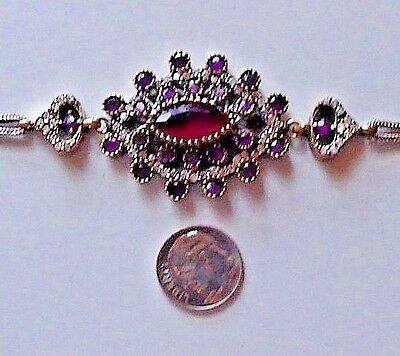 Vintage Victorian Bracelet With Natural Ruby Sapphire Solid Sterling / Bronze