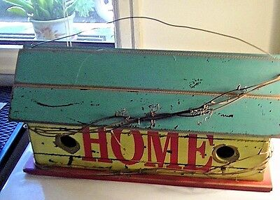 "HUGE vintage PRIMITIVE ANTIQUE LOOK RUSTIC ""HOME SWEET HOME""  WOOD BIRDHOUSE"
