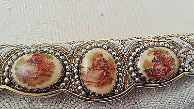 Vintage French Antique jeweled GLASS Beaded Purse ROMANTIC MINIATURE PORTRAITS