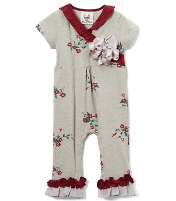Girls BABY BALOOGA boutique romper 6 12 months NWT ruffle burgundy floral cotton