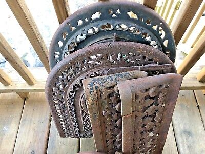 Antique Cast Iron scroll cut out lot 6 garden marked ornate surround gate door