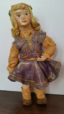 """Antique Paper Mache Girl Doll All Wax Over Paper Spaghetti Hair Blond 7"""""""