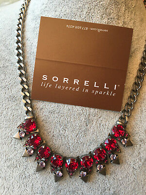 "New Sorrelli ""pink Ruby Red Necklace Antique  Silver  Tone  $145"