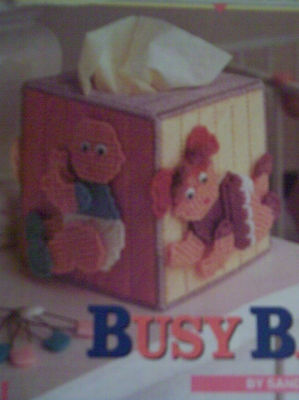 Plastic Canvas Pattern Tissue Box Cover ~ Busy Babies , Boy & Girl , Instruction